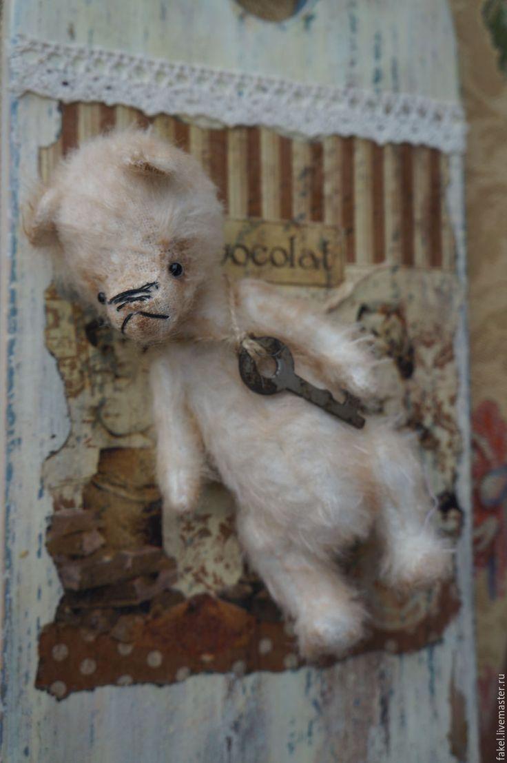 Купить Мишка Вилли - белый, мишка тедди, тедди мишка, тедди, мохер, старинный стиль