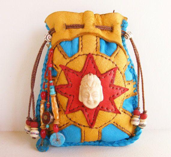 HAPPY BUDDHA deerskin leather Medicine Bag Spirit Pouch with bone Buddha, bone mala beads, Turquoise, Coral, Nepalese beads