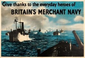 Merchant Navy Heroes Britain WWII UK 1940s - original vintage World War Two poster listed on AntikBar.co.uk