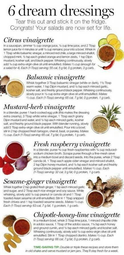 Healthy Salad Dressings - Citrus Vinaigrette, Balsamic Vinaigrette, Mustard-Herb Vinaigrette, Fresh Raspberry Vinaigrette, Sesame-Ginger Vinaigrette, Chipotle-Honey-Lime Vinaigrette