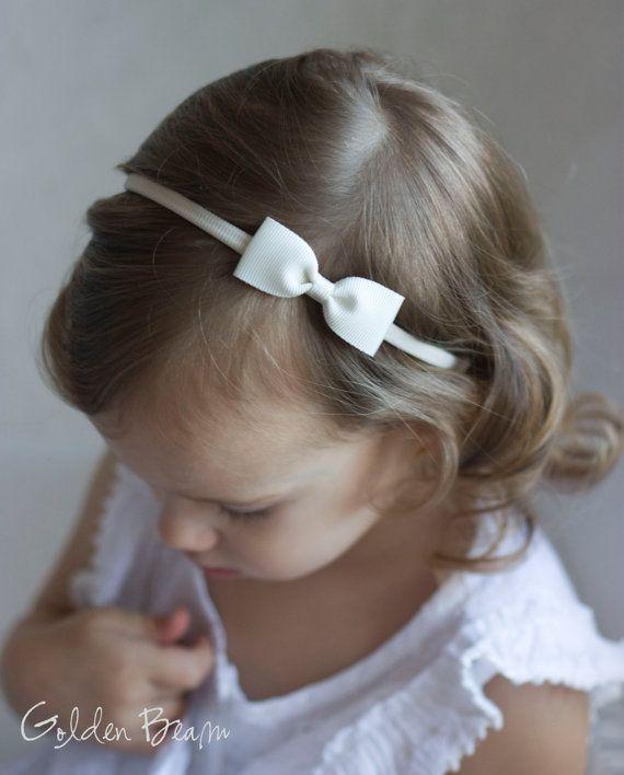 Baby Bow Headbands - Ivory Small Grosgrain Ribbon Bow Handmade Headbands
