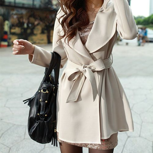 OL Style Sash Lapel Pure Color Trench Coat [grxjy560353]