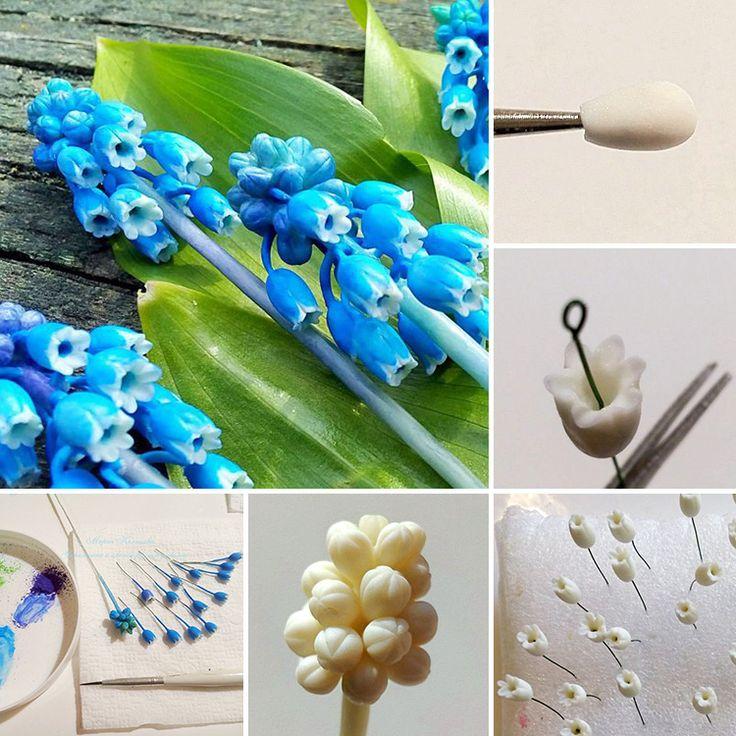 How to make Muscari flower with polymer clay: tutorial | Мастер-класс по лепке мускарика (мышиного гиацинта) из полимерной глины
