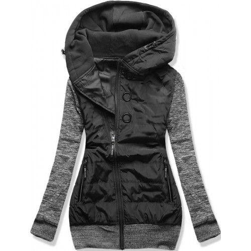 Dámská jarní/podzimní bunda Donie černá – černá – originální kombinace bundy a mikiny – asymetrický zip – tři ozdobné kolečka – dvě přední kapsy na zip – lemy ve spodní části i na rukávech Střih: …