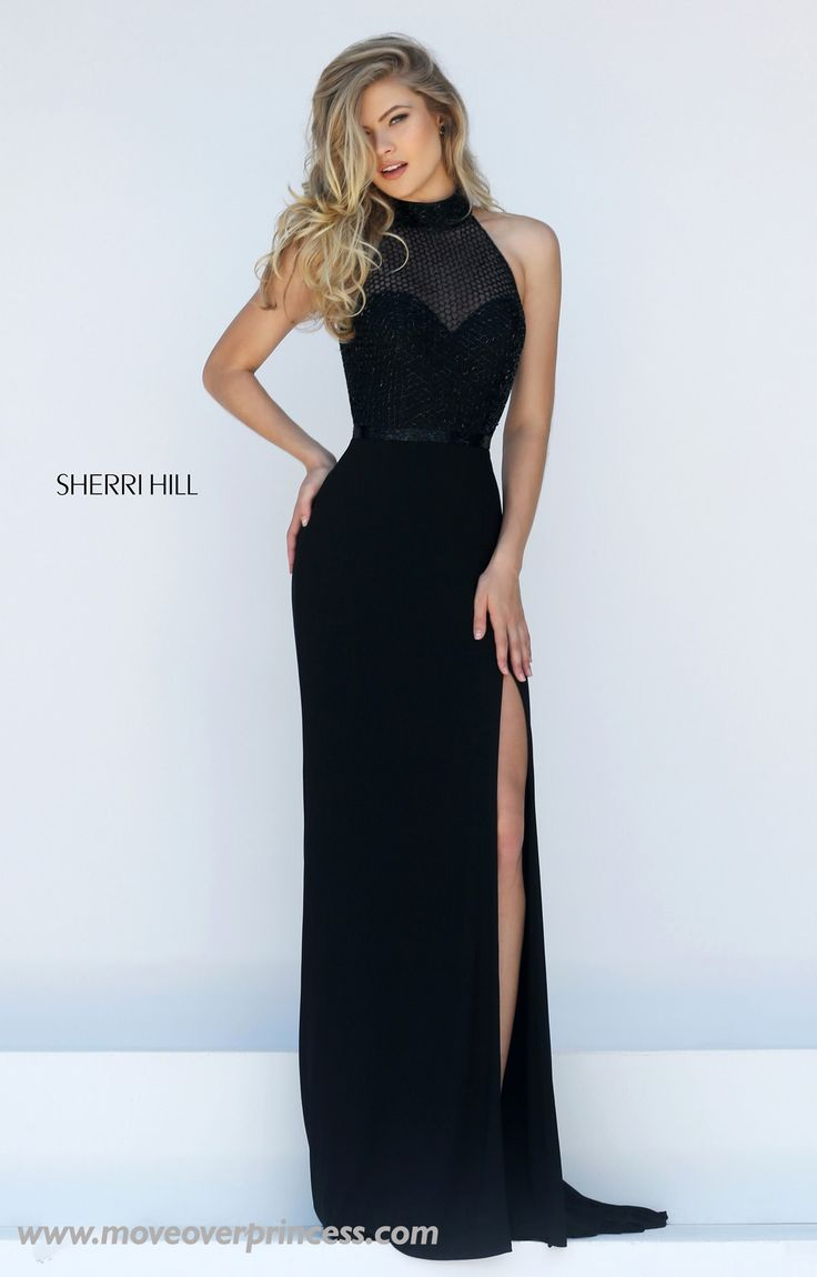 Glorious Sherri Hill gown with long jersey skirt and truly unique beaded overlay bodice and back cut out. View Size Chart