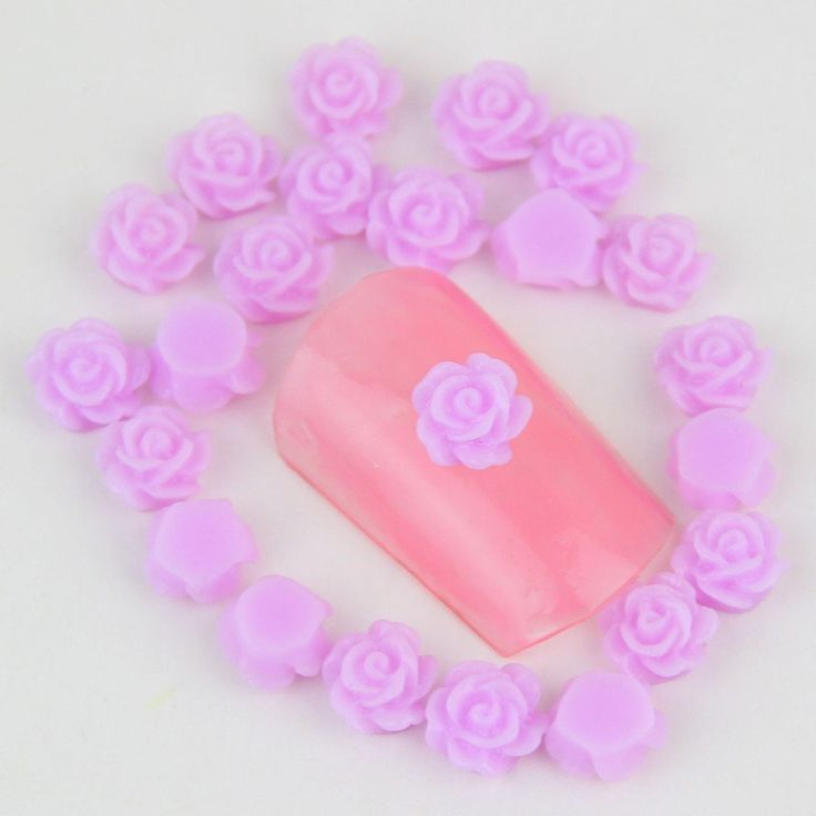 50PCS/LOT 6*6mm 3d Color Purple Flower Nail Art Jewelry DIY >>> Click on the image for additional details.