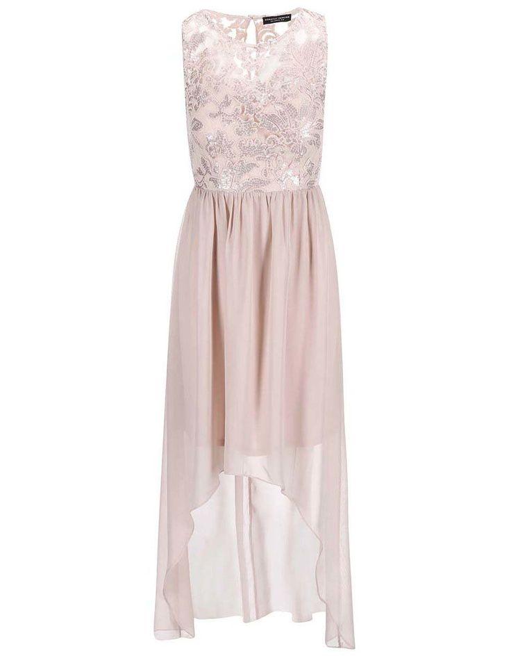 Dorothy Perkins - Béžové šaty s flitrovaným topem - 1