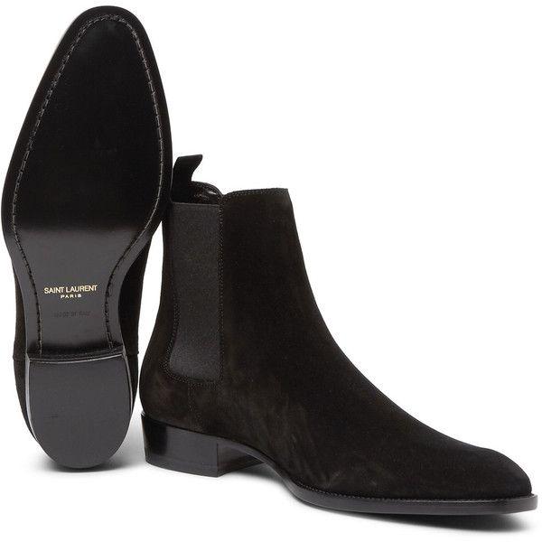 Saint Laurent Suede Chelsea Boots ($895) ❤ liked on Polyvore featuring men's fashion, men's shoes, men's boots, mens suede slip on shoes, mens suede shoes, mens black pull on boots, mens slip on shoes and mens slipon shoes
