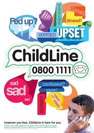 childline is part of NSPCC and is a 24 hour care line.