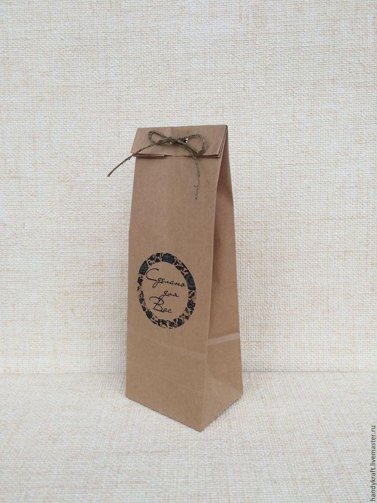 Купить Крафт пакет с рисунком 9х27 см - коричневый, бумажный пакет, пакет, пакет для мыла