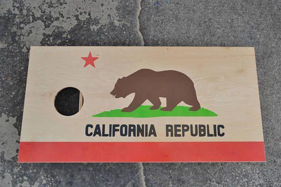 California Republic Flag Custom Full Size Stained Cornhole