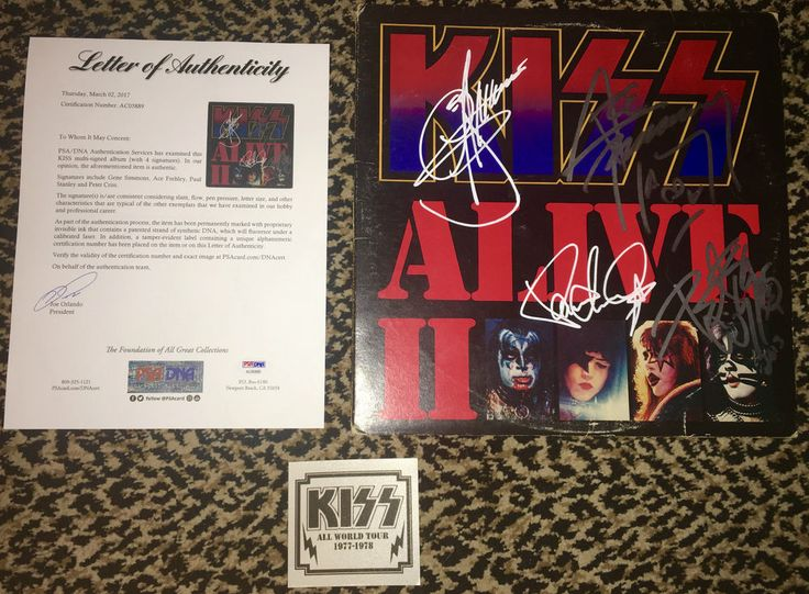KISS ALIVE II record album LP cover signed by Gene Paul Ace Peter PSA DNA COA