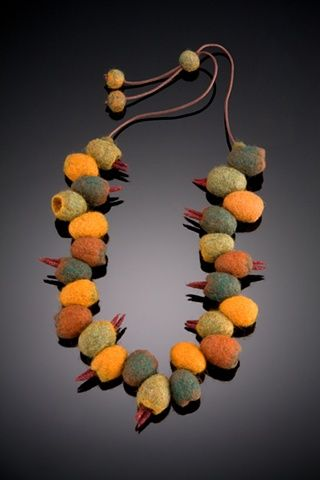 Hand felted wool pods on adjustable cord by Shelley Jones Jewelry
