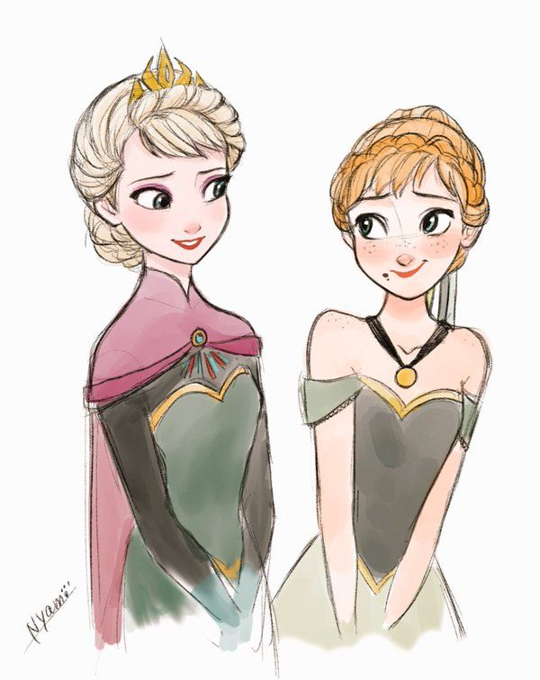 Frozen-Elsa and Anna in their Coronation Day attire. :)