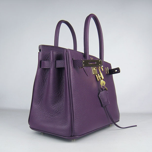 Purple Hermes 30CM Birkin Bag Clemence Leather With Gold HW Product Model: Hermes Birkin 30CM  Availability: In Stock  Color: Purple / Gold  Material: Calf Leather  Size: W30×H22×D16CM  Package: Hermes dust pouch, padlock, keys and key ornaments  Shipping: Free Price: $239