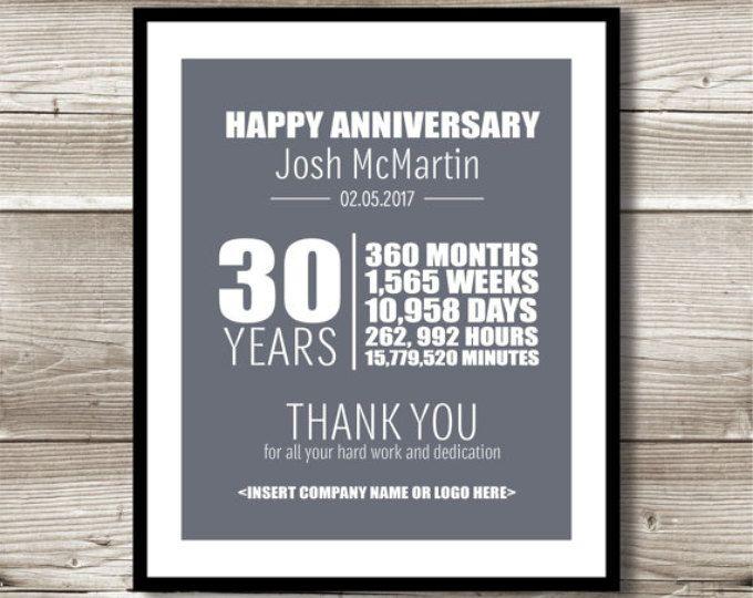 20 Year Work Anniversary Print 20th Work Anniversary