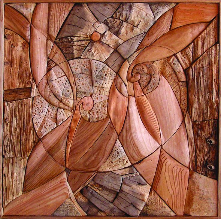 BUTERFFLY´S MANDALA, different kinds of wood, 60 x 60 cm / MOTÝLI MANDALA, různá dřeva, 60 x 60 cm / Viva wood art