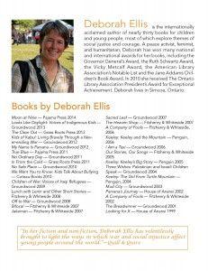 Information about internationally-acclaimed author Deborah Ellis
