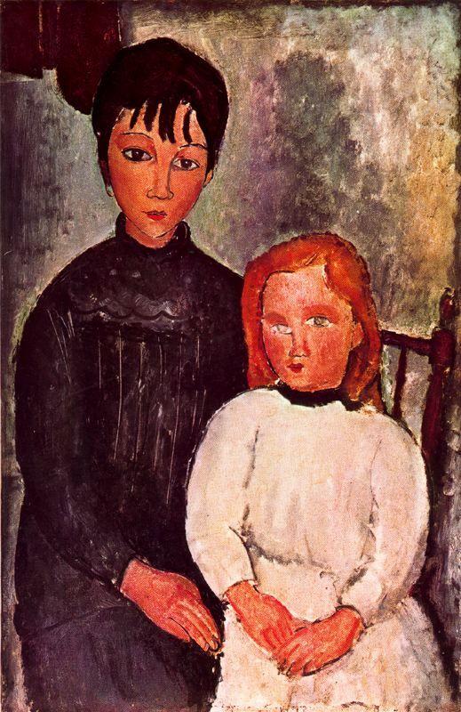 Amedeo Modigliani. Dos niñas, 1918. óleo sobre lienzo. Colección privada. WikiPaintings.org - the encyclopedia of painting