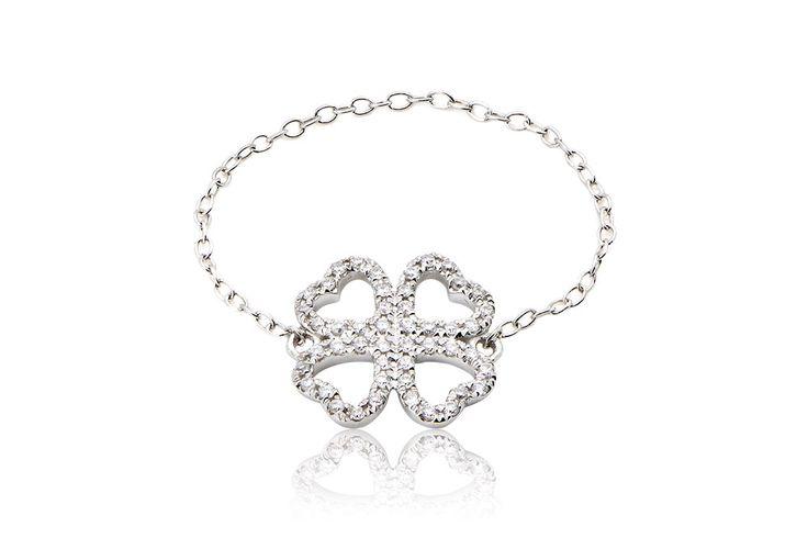 Clover Chain Ring Δαχτυλίδι με διαμάντια μπριγιάν κοπής 0,12CT από λευκόχρυσο 18Κ.Price :360€