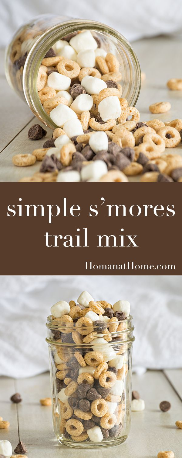 Super simple and super yummy s'mores trail mix combines chocolate chips, mini-marshmallows, and Cheerios for portable snacking fun!