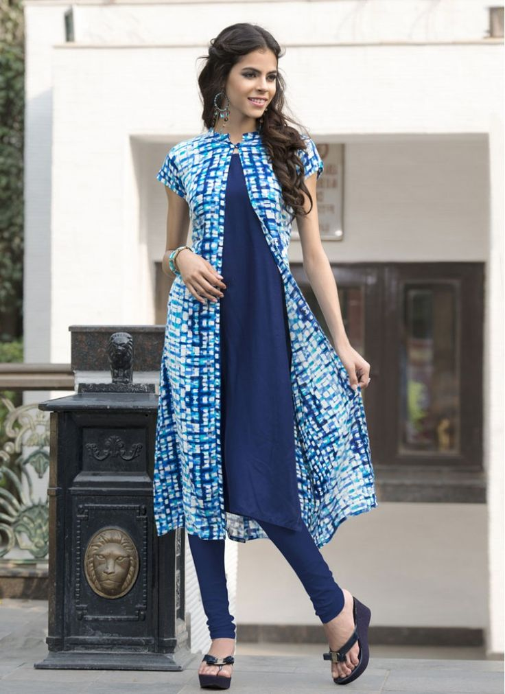 Charming Blue Abstract Print Fabulous Printed Kurti