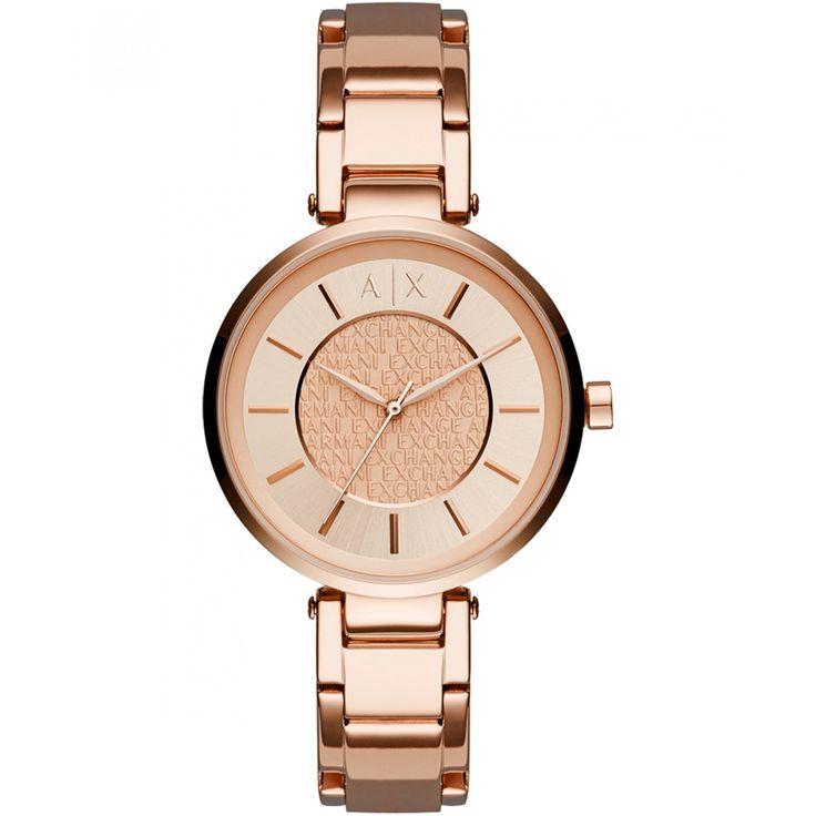 Reloj Armani Exchange con caja bisel y extensible tipo brazalete en acero color cobrizo carátula con diseño monogram a contraste con manecillas e indicadores y logotipo de la marca grabado.
