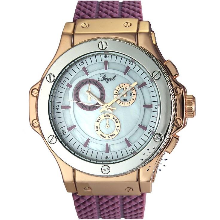 ANGEL Ladies Purple Rubber Strap  64€  Αγοράστε το εδώ: http://www.oroloi.gr/product_info.php?products_id=30460