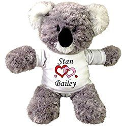 Personalized Stuffed Koala Teddy Bear - Love Hearts Valentine Design