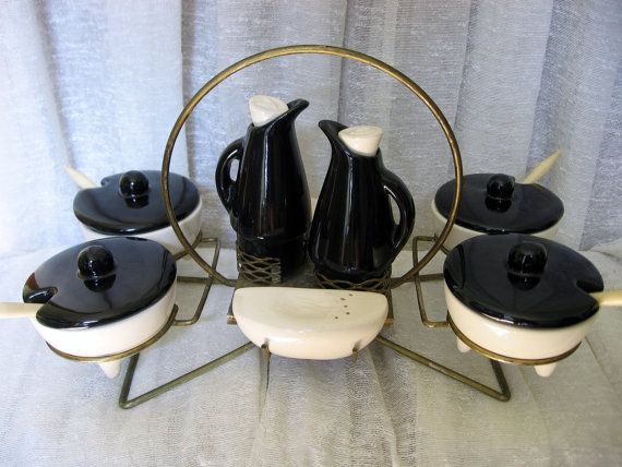 Mid Century Modern Condiment Set - Retro Atomic Age Condiment Caddy - Danish Modern Oil and Vinegar Set, Mod Salt and Pepper, Lidded Bowls on Etsy, $81.83