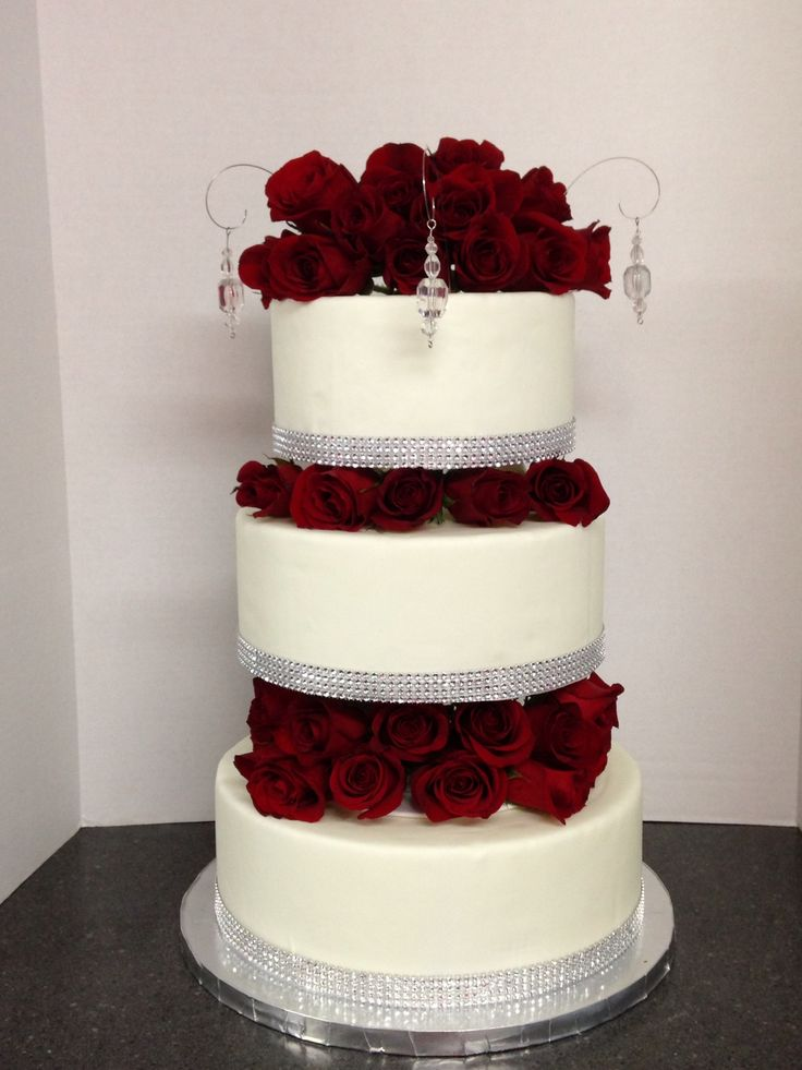 red wedding cakes with bling classic roses amp bling wedding cake shellscakes 19175