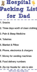 What Dad Needs to Pack for the Hospital Bag - funny family list for pregnant moms and soon to be new dads before the baby arrives. This list gives a new father the perfect idea of life to pack. Great thing to give to in the card at the baby shower.