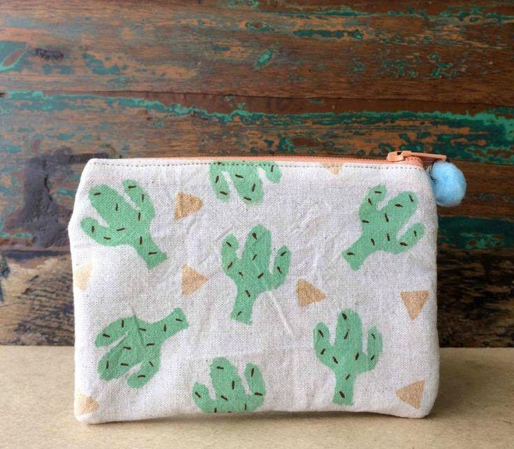 Pouch - Handmade Pouch - Block Printed Pouch - Beige Cotton Pouch - Pastel Mini Cactus Pouch - Pastel Green Cactus by UniqueLulu on Etsy