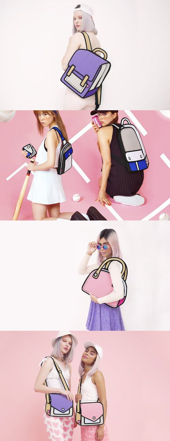 These are real bags (made to look like a 2d cartoon). I want one! Lol Cartoon Bags by Jump From Paper