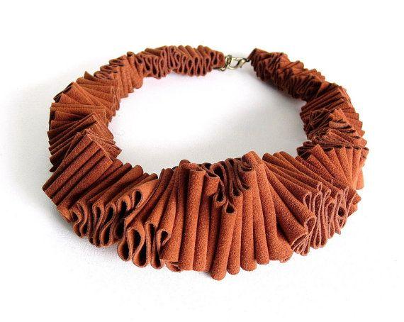 rusty orange bib necklace, avant garde ruffle fashion, urban jewelry - frankideas