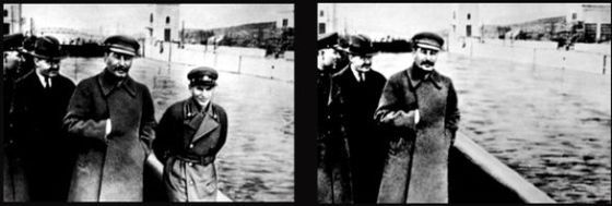 Nikolai Yezhov erased from Stalin's biography pictures