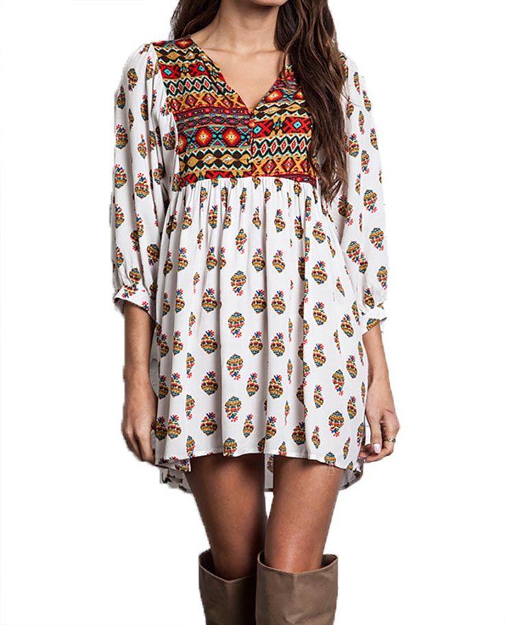 White Aztek Boho Dress in Plus Size