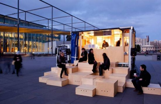 Japanese Food Truck designed by HASSELL, Australia. The seating is brilliant! http://food-trucks-for-sale.com/