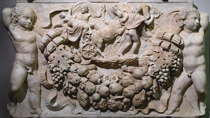Front relief of a sarcophagus with a with a scene of the Persephone's abduction. Marble. Roman work of the 2nd cent. CE. Inv. No. 167.Venice, National Archaeological Museum.