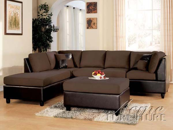 Sofa Cover Acme Chocolate Easy Rider Bycast Leather Sectional Sofa With Left Chaise
