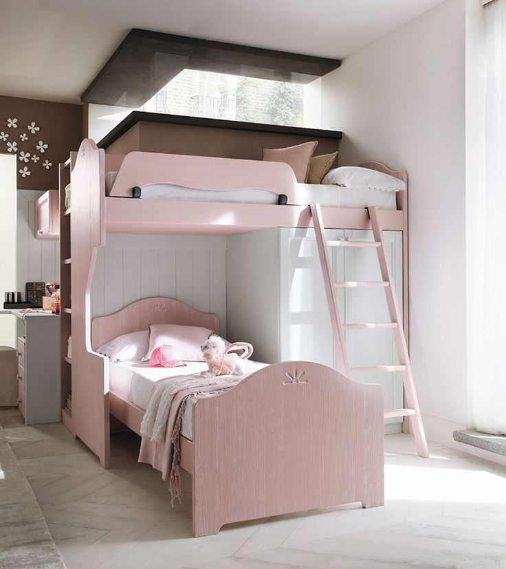 """Composition with high sleeper """"Luna"""" bed and wardrobe Double-sided bookcase, desk and drawer unit with wheels. Finishing: Light blush-powder and snow white - See more at: http://callesella.com/en/bedroom-high-sleeper-luna-bed#sthash.oMjDYp3Z.dpuf"""