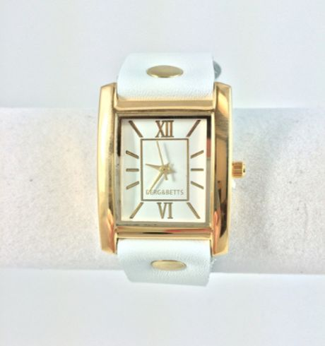 Berg + Betts - Gold watch with white leather