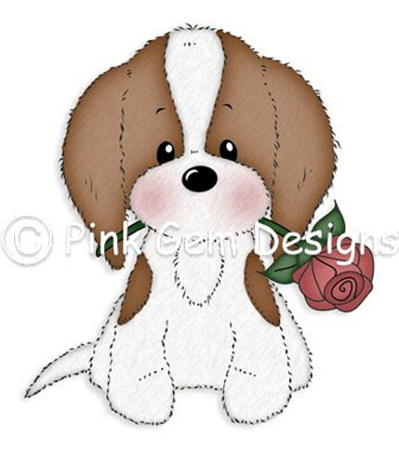Digi Stamp  Charlie with Rose - Cute Cavalier King Charles Puppy. Birthday. Mothers Day. Valentine's Day