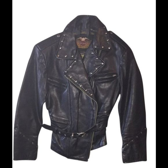 Final Price‼️ Harley Davidson Black Leather Jacket This is a beautiful vintage rare Harley Davidson black studded leather jacket. It has a few small signs of wear but looks practically new. I love this jacket but it doesn't fit me anymore. Harley Davidson Jackets & Coats Utility Jackets