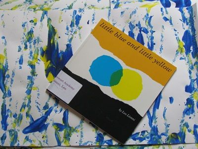 Book, Little Blue and Little Yellow by Leo Lionni and ball painting/color mixing activity