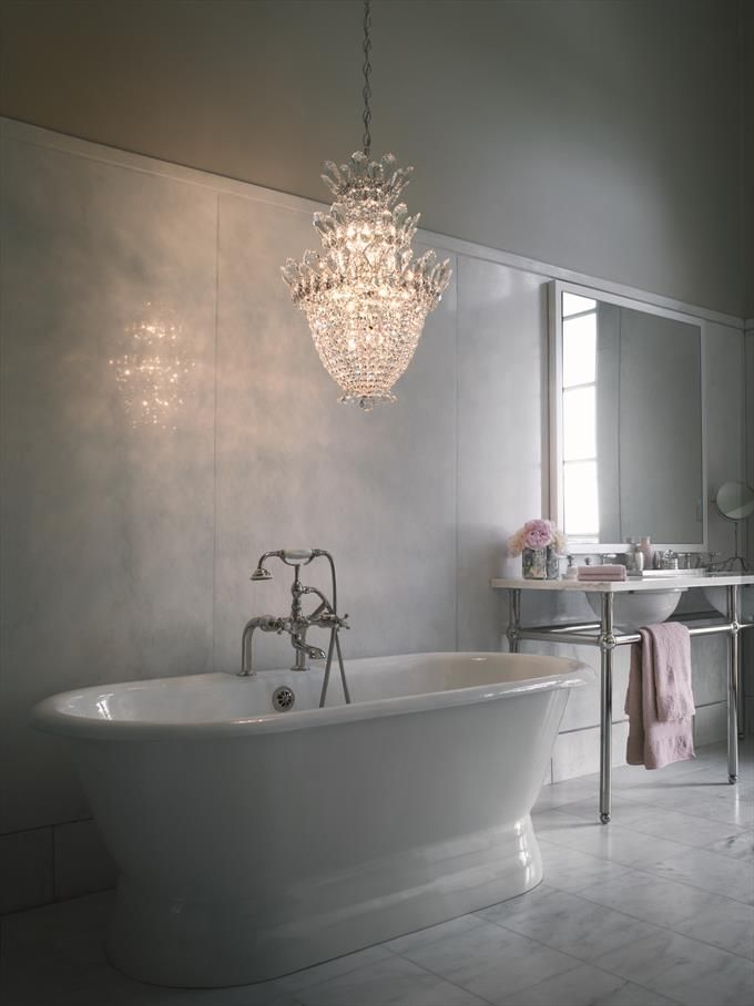 Best Beautiful Bath Images On Pinterest Basement Bathroom - Mini chandelier for bathroom for bathroom decor ideas