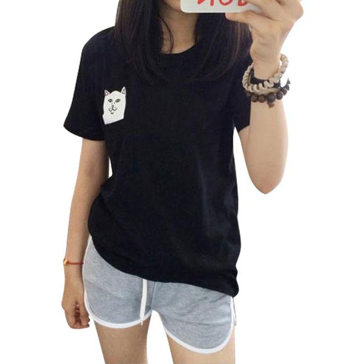 Women T Shirt 2015 Summer Style T-shirt Print Middle Finger Pocket Cat Harajuku O-neck Short Sleeve Cotton Couple Tee Plus Size