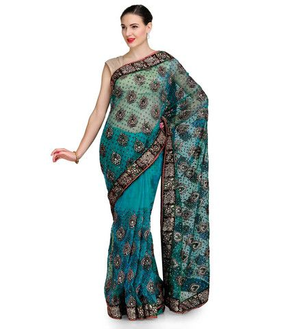 Green Tissue Saree with Velvet and Swarovski Work | Fabroop USA