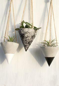 SALE- SET OF 3 Hanging concrete planter, Concrete planter , Hanging Planter Container, blac, white or marble spray planter