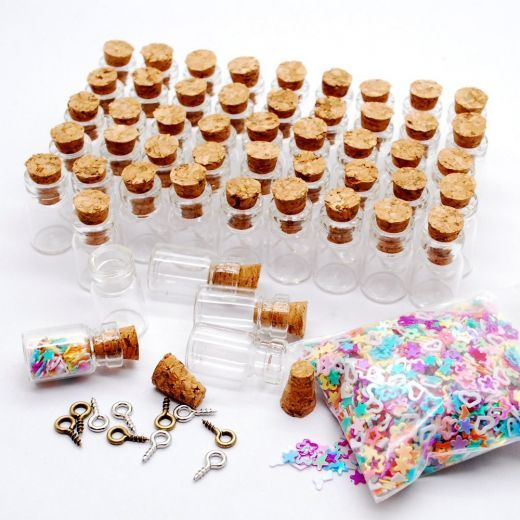 50pcs 0.5ml Vials Clear Glass Bottles with Corks Miniature Glass Bottle with Cork Empty Sample Jars Small 18x10mm(HeightxDia)